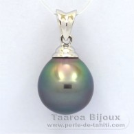 18K Solid White Gold Pendant and 1 tahitian Pearl Semi-Baroque B 11.2 mm