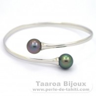 Rhodiated Sterling Silver Bracelet and 2 Tahitian Pearls Round C 10.3 mm