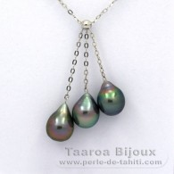 .925 Solid Silver Necklace and 3 tahitian Pearls Semi-Baroque B from 8.5 to 8.7 mm