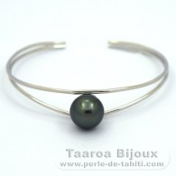 Rhodiated Sterling Silver Bracelet and 1 Tahitian Pearl Round B 10.7 mm