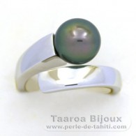 Rhodiated Sterling Silver + Rhodium Ring and 1 Tahitian Pearl Round C 9.4 mm