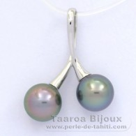 Rhodiated Sterling Silver Pendant and 2 Tahitian Pearls Round C 9.1 and 9.2 mm