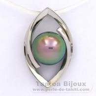 Rhodiated Sterling Silver Pendant and 1 Tahitian Pearl Round C+ 8.9 mm