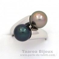 Rhodiated Sterling Silver Ring and 2 Tahitian Pearls Round C 9 and 9.1 mm