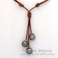 Leather Necklace and 3 Tahitian Pearls Semi-Baroque C from 11 to 11.6 mm