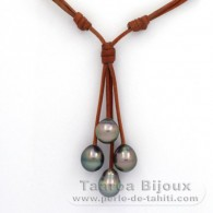 Leather Necklace and 4 Tahitian Pearls Semi-Baroque B/C from 9.7 to 10.1 mm