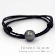 Leather Necklace and 1 Tahitian Pearl Round C 14.4 mm