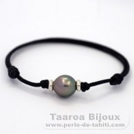 Waxed cotton Bracelet and 1 Tahitian Pearl Semi-Baroque C 10.8 mm