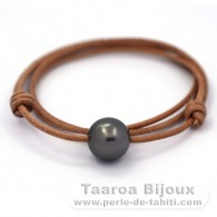 Leather Necklace and 1 Tahitian Pearl Round C 14 mm