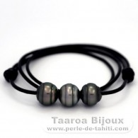 Leather Necklace and 3 Tahitian Pearls Ringed C from 13 to 13.2 mm