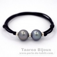 Waxed cotton Necklace and 2 tahitian Pearls Round C 13.1 mm