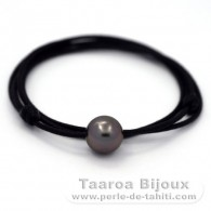 Waxed cotton Necklace and 1 Tahitian Pearl Round C 11.7 mm