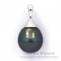 Rhodiated Sterling Silver Pendant and 1 Tahitian Pearl Ringed C 12.4 mm