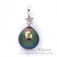 Rhodiated Sterling Silver Pendant and 1 Tahitian Pearl Ringed B+ 10.6 mm