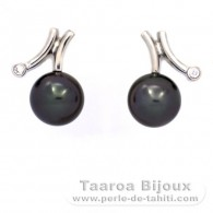 Rhodiated Sterling Silver Earrings and 2 Tahitian Pearls Semi-Round B 9 mm