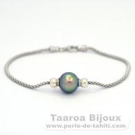 Rhodiated Sterling Silver Bracelet and 1 Tahitian Pearl Semi-Round B 10.2 mm