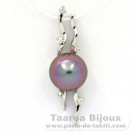 Rhodiated Sterling Silver Pendant and 1 Tahitian Pearl Semi-Round C+ 9.3 mm