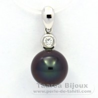 .925 Solid Silver Pendant and 1 Tahitian Pearl Round C 8.9 mm