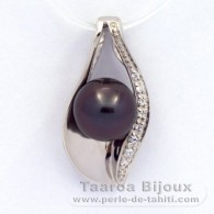Rhodiated Sterling Silver Pendant and 1 Tahitian Pearl Round C 8.6 mm