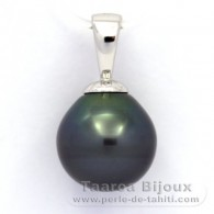 Rhodiated Sterling Silver Pendant and 1 Tahitian Pearl Ringed B 11.7 mm
