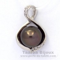 .925 Solid Silver Pendant and 1 Tahitian Pearl Round C 9.8 mm