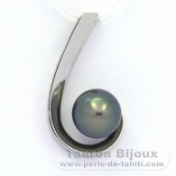 Rhodiated Sterling Silver Pendant and 1 Tahitian Pearl Semi-Round C 9.8 mm