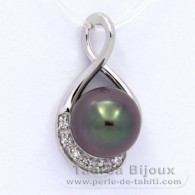 Rhodiated Sterling Silver Pendant and 1 Tahitian Pearl Semi-Round C 11 mm