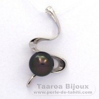 .925 Solid Silver Pendant and 1 Tahitian Pearl Round C 9.4 mm