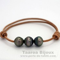 Leather Bracelet and 3 Tahitian Pearls Ringed C from 11 to 11.4 mm