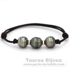 Waxed Cotton Bracelet and 3 Tahitian Pearls Ringed C  10.7 to 10.9 mm
