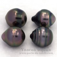 Lot of 4 Tahitian Pearls Ringed C from 9 to 9.4 mm