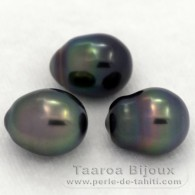 Lot of 3 Tahitian Pearls Semi-Baroque C from 8.8 to 9 mm