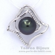 Rhodiated Sterling Silver Pendant and 1 Tahitian Pearl Round C 9.5 mm