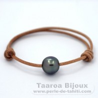 Leather Bracelet and 1 Tahitian Pearl Semi-Baroque C 12.3 mm