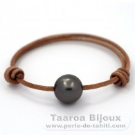 Leather Bracelet and 1 Tahitian Pearl Round C 13.3 mm