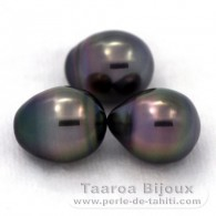 Lot of 3 Tahitian Pearls Semi-Baroque B from 9.5 to 9.7 mm