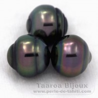 Lot of 3 Tahitian Pearls Ringed C from 10.1 to 10.2 mm