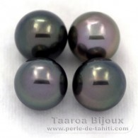 Lot of 4 Tahitian Pearls Semi-Round C from 10.3 to 10.4 mm