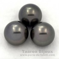 Lot of 3 Tahitian Pearls Round C from 12.2 to 12.3 mm