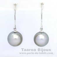 18K Solid White Gold Earrings and 2 Tahitian Pearls Round B 9.8 mm