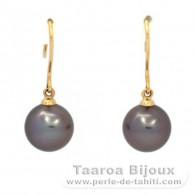18K solid Gold Earrings and 2 Tahitian Pearls Round B 9 mm