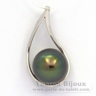 Rhodiated Sterling Silver Pendant and 1 Tahitian Pearl Semi-Round C 11.1 mm