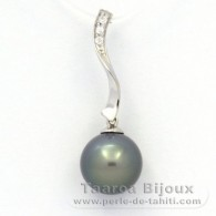 Rhodiated Sterling Silver Pendant and 1 Tahitian Pearl Round C (A+) 9.9 mm