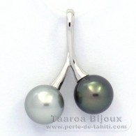 Rhodiated Sterling Silver Pendant and 2 Tahitian Pearls Round C 9.8 mm