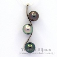 Rhodiated Sterling Silver Pendant and 3 Tahitian Pearls Round C from 8.8 to 8.9 mm