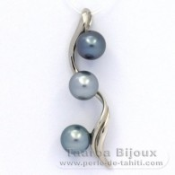 Rhodiated Sterling Silver Pendant and 3 Tahitian Pearls Round C from 9.7 to 9.9 mm