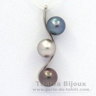 Rhodiated Sterling Silver Pendant and 3 Tahitian Pearls Round C 9.6 mm
