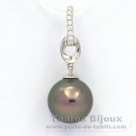 Rhodiated Sterling Silver Pendant and 1 Tahitian Pearl Round C 10 mm
