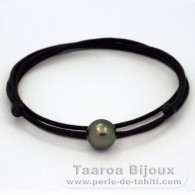 Waxed cotton Necklace and 1 Tahitian Pearl Round C 10.3 mm