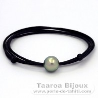 Waxed cotton Necklace and 1 Tahitian Pearl Round C 11.6 mm